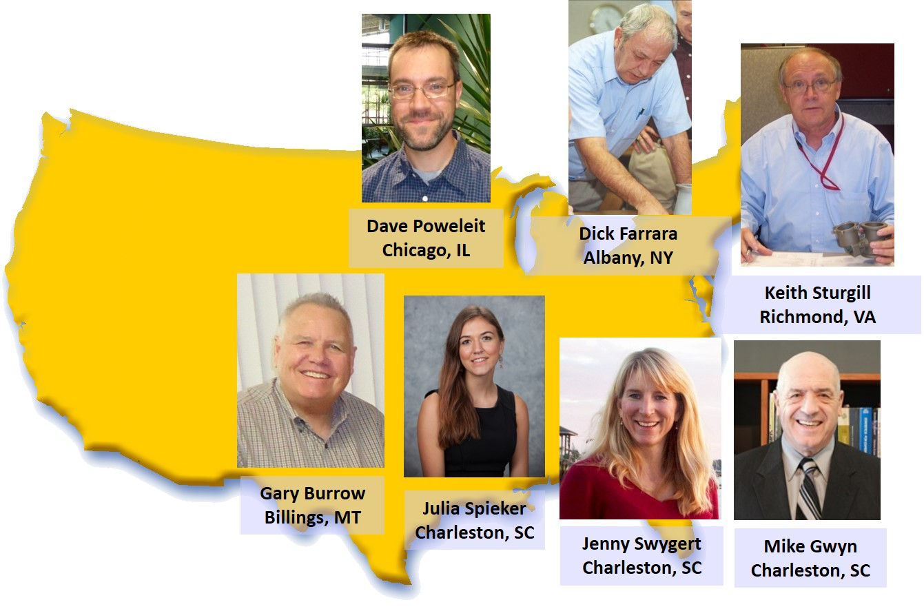 Gary Burrow Billings, MT; Dave Poweleit Chicago, IL; Dick Farrara Alabany, NY; Keith Sturgill Richmond, VA; Julia Spieker Charleston, SC; Jenny Swygert Charleston, SC; Mike Gwyn Charleston, SC